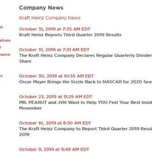 【KHC】クラフト・ハインツからの「便り」が3週間近くない