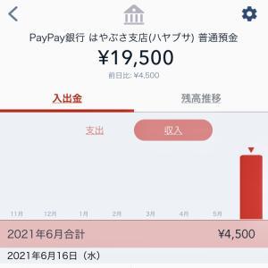 本当に入金された!PayPay銀行4,500円。