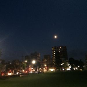 夏の夜空にまあるいお月様