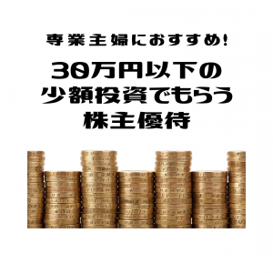 専業主婦にもおすすめ!30万円以下の少額投資で届く株主優待!