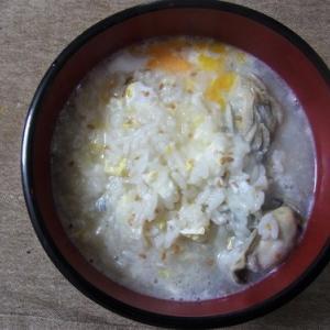 胡麻と牡蠣の朝粥