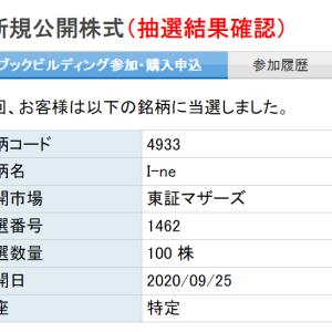 IPO I-ne 楽天証券で当選?