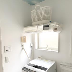 【洗面室】狭くても有効活用!手洗い用の服置き場とバケツを追加♪