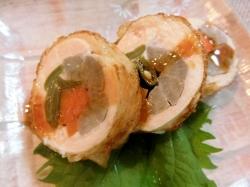 【食】八幡巻風鶏ハム