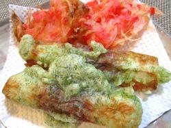 【食】ちくわ磯辺揚げと紅生姜かき揚げ
