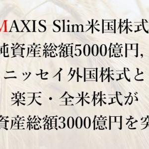 eMAXIS Slim米国株式(S&P500)が純資産総額5000億円,<購入・換金手数料なし>ニッセイ外国株式と楽天・全米株式が純資産総額3000億円を突破