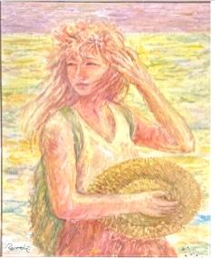 ルノワール 麦わら帽子を持った若い女性画  パラレル自分宇宙