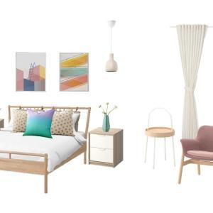 IKEA アイテムのベッドルームコーディネート