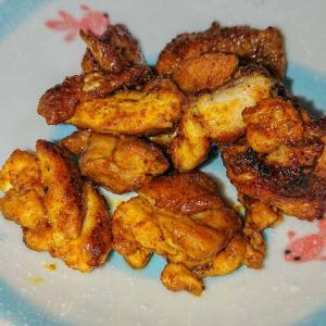 【簡単料理】カレー粉をまぶして焼くだけタンドリーチキン風焼き鳥