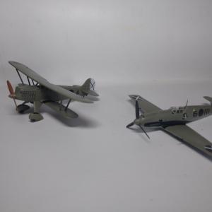 """【完成】ハセガワ 1/72 He51B-1&Bf109E-3 """"コンドル軍団 第88戦闘飛行隊"""""""
