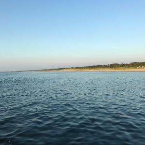 【クエスト41】  網代浜で準備体操  いよいよ明日は出航!
