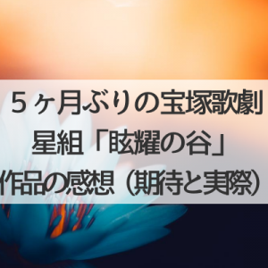星組「眩耀の谷」感想(期待の実際のところ)~5ヶ月ぶりの宝塚歌劇観劇!