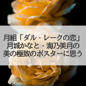 月城かなと✕海乃美月「ダル・レークの恋」ポスター2人写りに思う…