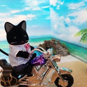 う〜みべにバイクを止め〜て〜