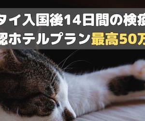 ◆タイ入国後14日間の隔離措置◆政府公認ホテルプラン最高50万円