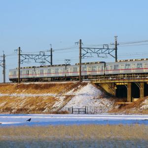 東武日光線 雪のガーダー橋