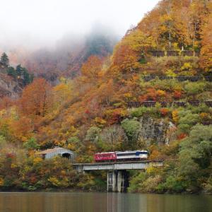 只見線 田子倉ダムの秋
