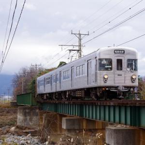 長野電鉄 樋沢川橋梁の3500系