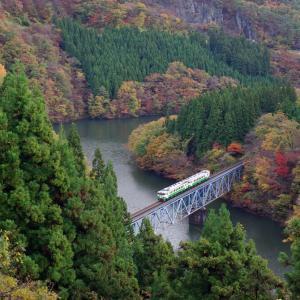 只見線 第3只見川橋梁の紅葉