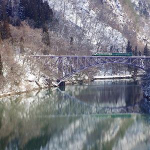 只見線 第1只見川橋梁の温かい冬