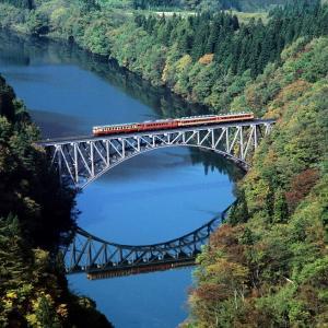 只見線 なつかしの列車(204)第1只見川橋梁の国鉄色