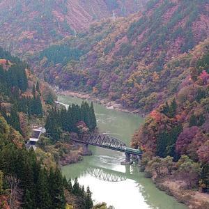 只見線 第4只見川橋梁の秋