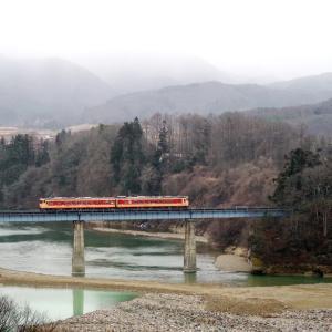 会津鉄道 第6大川橋梁のキハ47.48