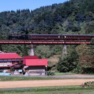 只見線 なつかしの列車(231)夏井川橋梁の奥只見号