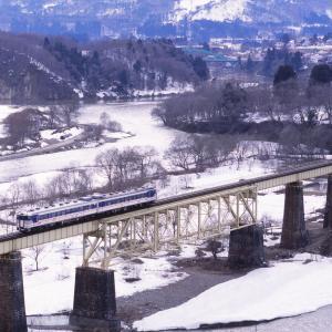磐越西線 なつかしの列車(237)一ノ戸橋梁の冬