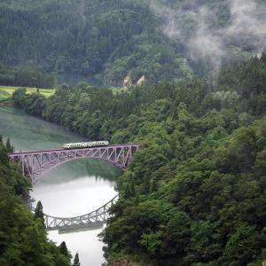 只見線 第1只見川橋梁の夏