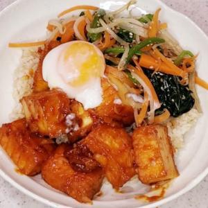 【男の手料理】韓国風厚揚げ丼。一食150円以内の節約簡単レシピ。※参照動画付