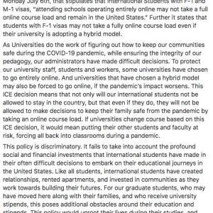 留学生に対する移民税関捜査局 (ICE)の方針について