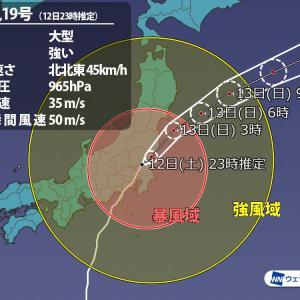 【最強台風】大型で強い台風19号 静岡県伊豆半島に上陸 中心気圧は965hPa ★85