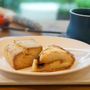 武蔵小杉カフェ:おやつ研究所|林檎とキャラメルのタルト、全粒粉ときび糖のスコーン