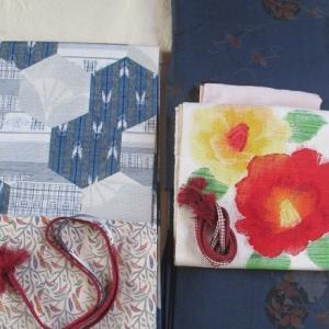 藍大島、紬の帯、縮緬の羽織