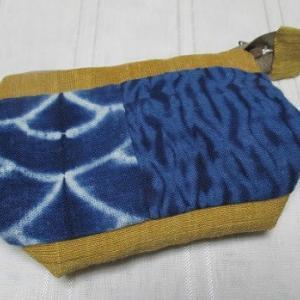 藍染め布で作るポーチ