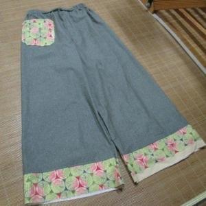 お嫁さんのワイドパンツを縫う