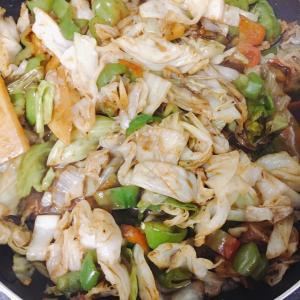 夕飯作り2020/09/23ホイコーロー、サラダ、梅きんぴら