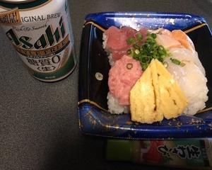 海鮮丼で晩酌