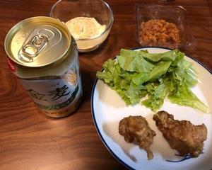 鶏の唐揚げと韓国のお酒