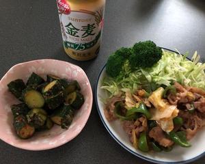 牛肉と野菜のピリ辛炒めで晩酌