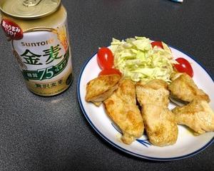 鶏むね肉のカレーマヨ焼きで晩酌
