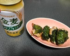 鶏ひき肉の梅肉大葉包み焼きで晩酌