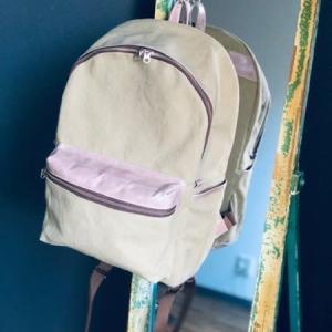 カバン教室の日 * 革とビンテージ加工帆布のコラボリュック仕立て上がりました!