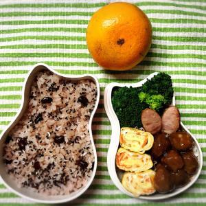 今日のお弁当〜きざみにんじん入り卵焼きとお赤飯!