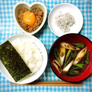 今日の朝ごはん〜卵黄のせ納豆と業務スーパーのちりめん!