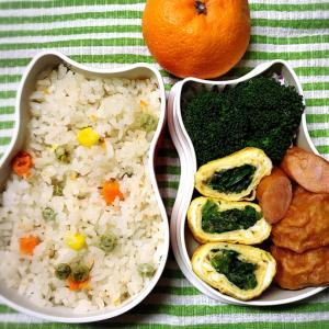 今日のお弁当〜ほうれん草胡麻和え入り卵焼き!