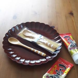 久々見つけたダイソーのボーダー和のスプーン◇食べ過ぎ注意チューブが便利なつぶあん
