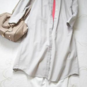 今こそ無印シャツワンピースを着てみたコーデ◇梅雨時期の洗濯を慌てない^^