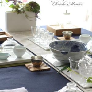 七夕のテーブルコーディネートに笹の葉の器